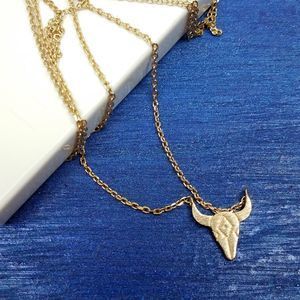 NWT Gold Cow/Bull Longhorn Skull Pendant Necklace